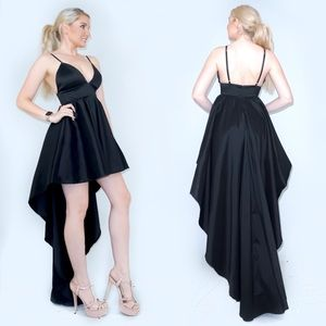 Plunge Open Back High Low Party Dress